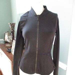 Lululemon Black Print zip front Jacket 4